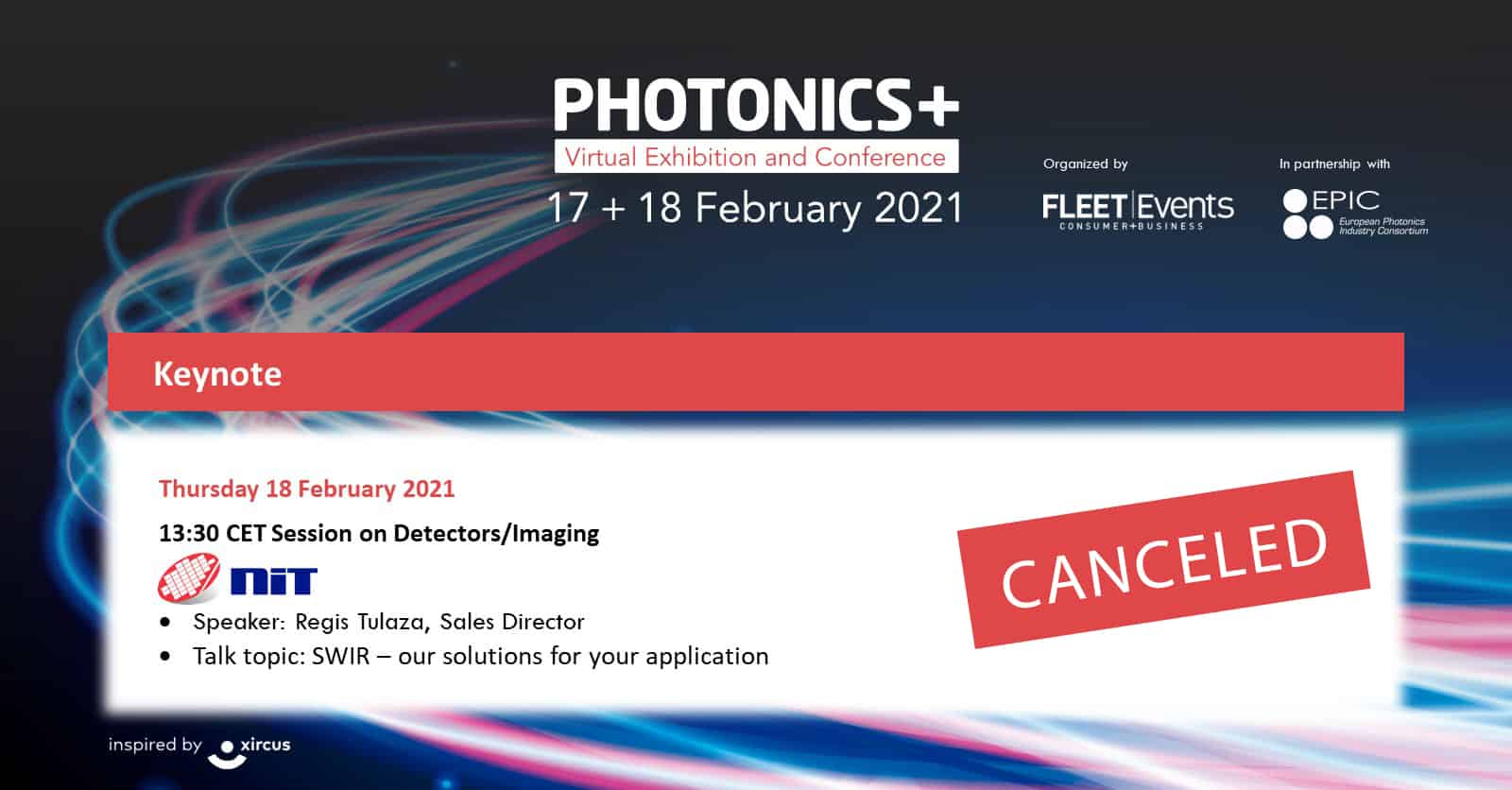 NIT product presentation at PhotonicsPlus was canceled