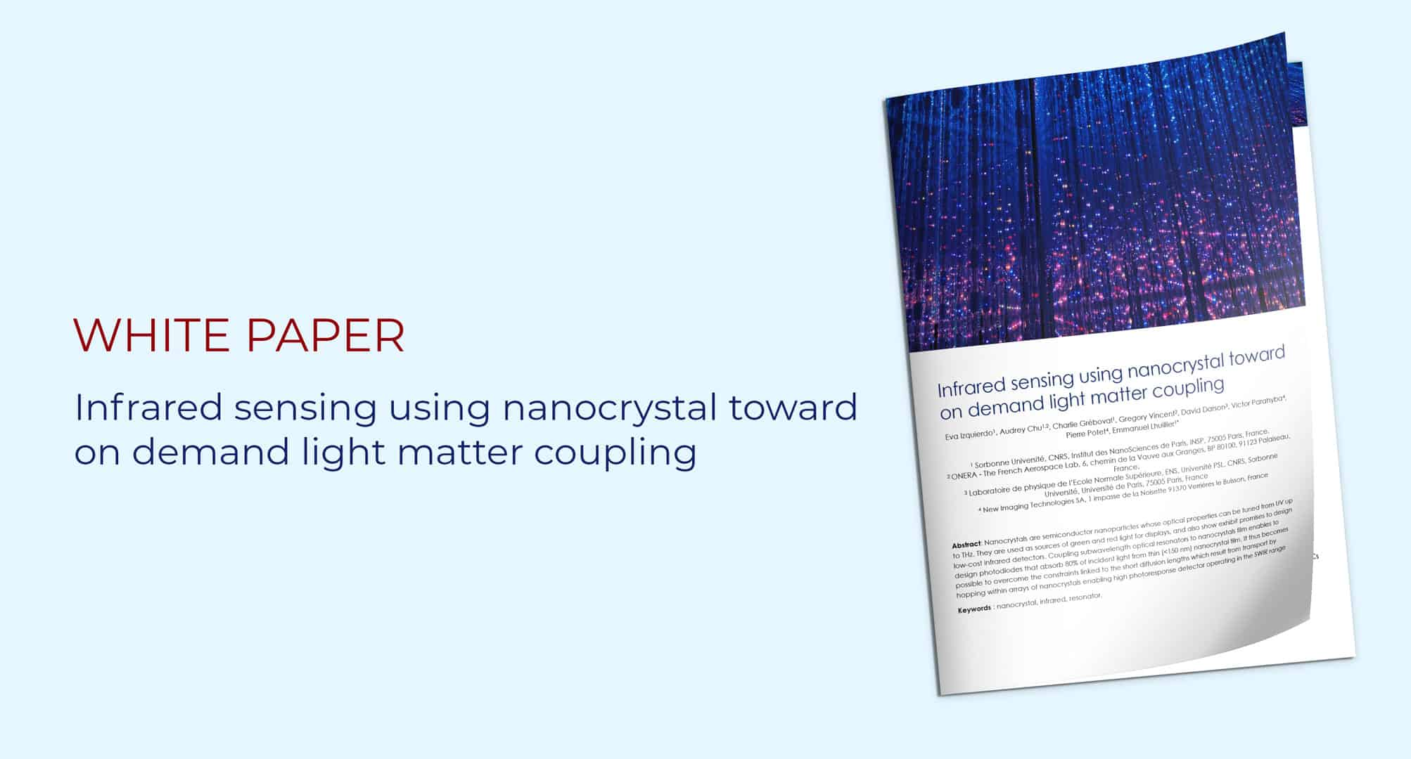 white paper: Infrared sensing using nanocrystal toward on demand light matter coupling